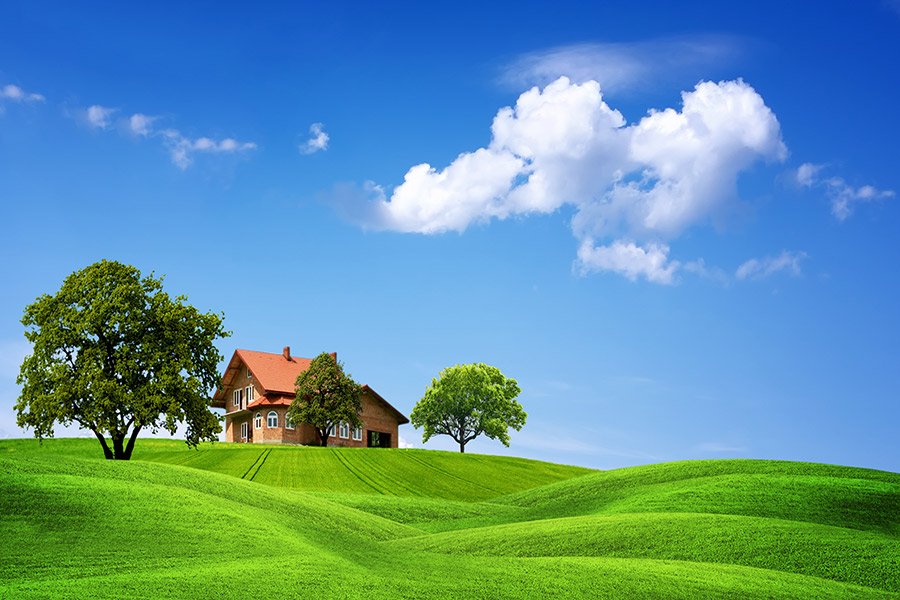 Images d'une maison au fond d'un champs avec quelques arbres et un ciel bleu