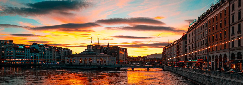 Photo d'un coucher de soleil à Genêve (Suisse)
